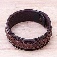 Leather wristband bracelet, 'Weaver's Life' - Handcrafted Woven Leather Wristband Bracelet from Thailand
