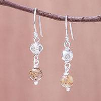 Rutilated quartz dangle earrings, 'Karen Rapture' - Rutilated Quartz and Karen Silver Dangle Earrings
