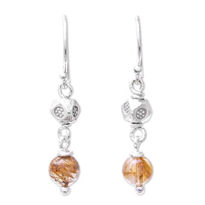 Rutilated quartz dangle earrings, 'Karen Rapture' - Rutilated Quartz and Karen Silver Dangle Earrings