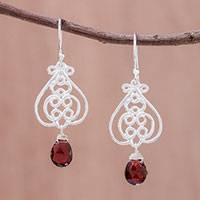 Garnet dangle earrings, 'Swirling Beauty' - Swirl Pattern Garnet Dangle Earrings Crafted in Thailand