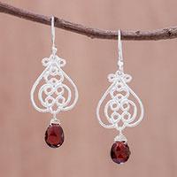 Garnet dangle earrings, 'Swirling Beauty' - Swirl Pattern Garnet Dangle Earrings Crafted in Thailand