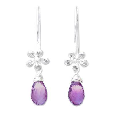 Floral Faceted Amethyst Dangle Earrings from Thailand