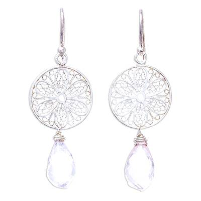 Rose quartz dangle earrings, 'Glittering Web' - Web Motif Rose Quartz Dangle Earrings from Thailand