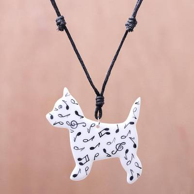 Ceramic pendant necklace, 'Dog Melody' - Music-Themed Ceramic Dog Pendant Necklace from Thailand