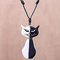 Ceramic pendant necklace, 'Black and White Cat' - Black and White Ceramic Cat Pendant Necklace from Thailand