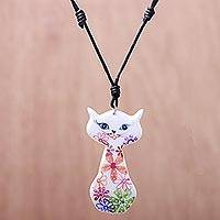 Ceramic pendant necklace, 'Daisy Cat' - Ceramic Floral Cat Pendant Necklace from Thailand