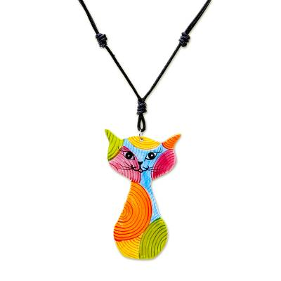 Colorful Ceramic Cat Pendant Necklace from Thailand