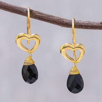 Gold plated spinel dangle earrings, Time to Love