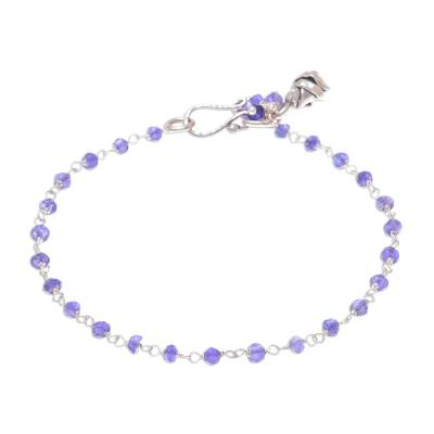 Amethyst link bracelet, 'Iris Secret' - Amethyst Link Bracelet with Karen Silver Charm