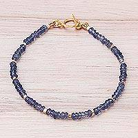 Gold plated amethyst beaded bracelet, 'Simply Enchanted' - 24k Gold Plated Amethyst Beaded Bracelet from Thailand