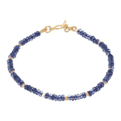 24k Gold Accented Iolite Beaded Bracelet from Thailand