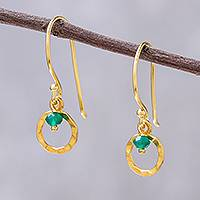 Gold plated onyx dangle earrings, 'Green Rustic Modern' - 24k Gold Plated Green Onyx Dangle Earrings from Thailand