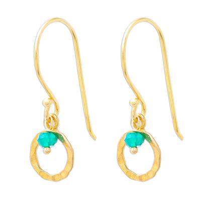 24k Gold Plated Green Onyx Dangle Earrings from Thailand