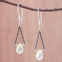 Gold accented prehnite dangle earrings, 'Justice'