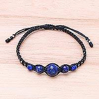 Lapis lazuli beaded macrame bracelet, 'Blue Way'