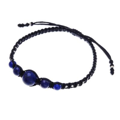 Lapis lazuli beaded macrame bracelet, 'Blue Way' - Hill Tribe Lapis Lazuli Beaded Macrame Bracelet