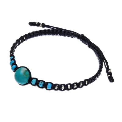 Silver beaded macrame bracelet, 'Blue Classic' - Silver and Recon. Turquoise Beaded Macrame Bracelet