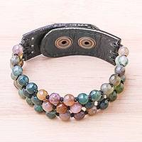 Agate and leather beaded bracelet, 'Nature Mood' - Handmade Agate and Leather Beaded Snap Clasp Bracelet