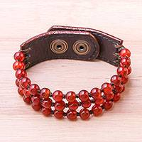 Carnelian beaded bracelet, 'Nature's Desire' - Handmade Carnelian and Leather Beaded Snap Clasp Bracelet
