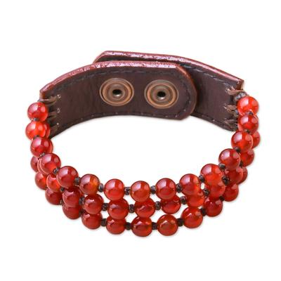 Carnelian beaded bracelet, 'Nature's Desire' - Handmade Carnelian and Leather Beaded Snap Clasp Bracelet
