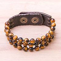 Leather accented tiger's eye beaded bracelet, 'Nature's Intrigue'