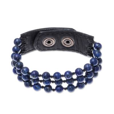 Lapis lazuli beaded bracelet, 'Nature's Wish' - Handmade Lapis Lazuli and Leather Beaded Snap Clasp Bracelet