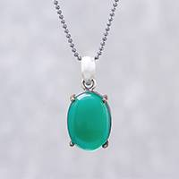 Gold accented onyx pendant necklace, 'Shamrock Pool' - Green Onyx Oval and Sterling Silver Pendant Necklace