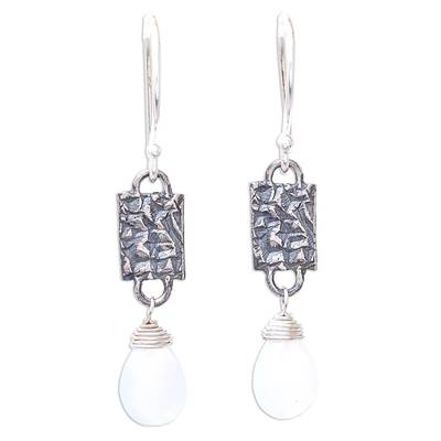 Chalcedony and Textured Sterling Silver Dangle Earrings