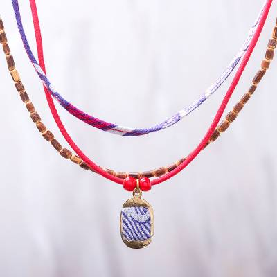 Cotton and wood beaded pendant necklace, 'Joyful Jumble' - Many Strands Blue and Red Wood Cotton Brass Pendant Necklace