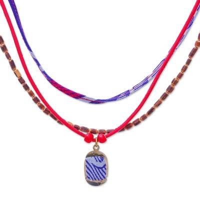 Many Strands Blue and Red Wood Cotton Brass Pendant Necklace
