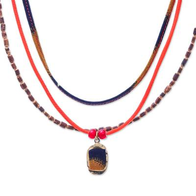 Many Strands Blue Yellow Wood Cotton Brass Pendant Necklace