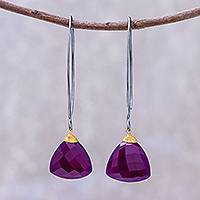 Gold accented chalcedony dangle earrings, 'Spirited' - Purple Chalcedony Triangle Sterling Silver Dangle Earrings