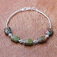 Unakite beaded bracelet, 'Earthy Lover' - Unakite and Karen Silver Beaded Bracelet from Thailand