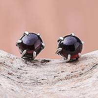 Garnet stud earrings, 'Petite Glow' - Handcrafted Garnet and Sterling Silver Stud Earrings
