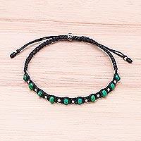 Magnesite beaded macrame bracelet, 'Simply Verdant' - Magnesite Beaded Macrame Bracelet from Thailand