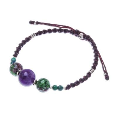Multi-gemstone beaded pendant bracelet, 'Nice Stones' - Multi-Gemstone Beaded Pendant Bracelet from Thailand