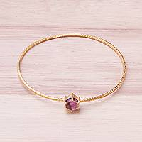 Amethyst bangle bracelet, 'Twilight Star' - Amethyst and 18K Gold Plated Hammered Brass Bangle Bracelet