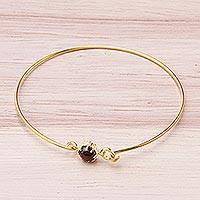 Garnet bangle bracelet, 'Petite Spark' - Handcrafted Garnet and 18K Gold Plated Brass Bangle Bracelet