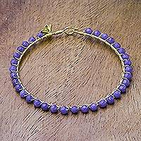 Quartz bangle bracelet, 'Boysenberry Fields' - Blue-Purple Quartz Bead 18K Gold Plated Brass Bangle
