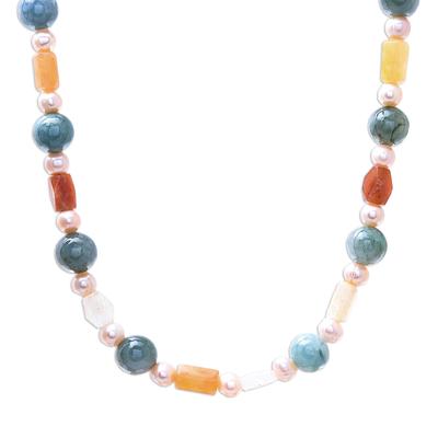 Multi-gemstone beaded long necklace, 'Thai Beauty' - Multi-Gemstone Beaded Long Necklace from Thailand