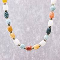 Multi-gemstone beaded long necklace, 'Thai Passion' - Multi-Gemstone Beaded Long Necklace Crafted in Thailand