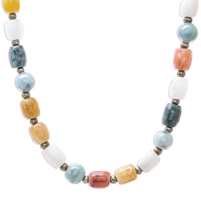 Multi-gemstone beaded long necklace, 'Thai Passion' - Multi-Gemstone Beaded Long Necklace Crafted in Thailand