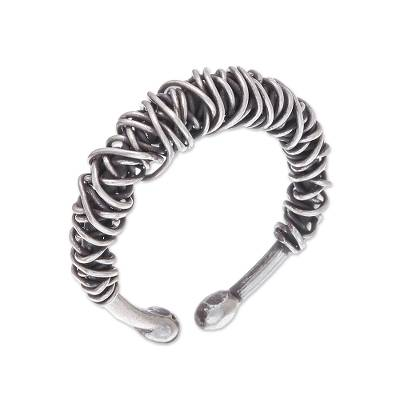 Sterling silver wrap ring, 'Dark Thai Spindle' - Combination Finish Sterling Silver Wrap Ring from Thailand