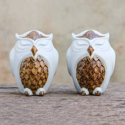 Ceramic salt and pepper shakers, Calm Owls in White (pair)