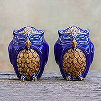 Ceramic salt and pepper shakers, 'Calm Owls in Blue' (pair) - Ceramic Owl Salt and Pepper Shakers in Blue (Pair)