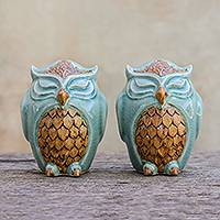 Celadon ceramic salt and pepper shakers, 'Calm Owls in Green' (pair) - Celadon Ceramic Owl Salt and Pepper Shakers (Pair)