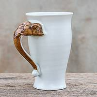 Ceramic mug, 'Elephant Handle in White' - Elephant-Themed Ceramic Mug in White from Thailand