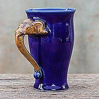 Ceramic mug, 'Elephant Handle in Blue' - Elephant-Themed Ceramic Mug in Blue from Thailand