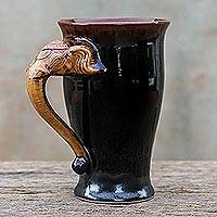 Ceramic mug, 'Elephant Handle in Brown' - Elephant-Themed Ceramic Mug in Brown from Thailand