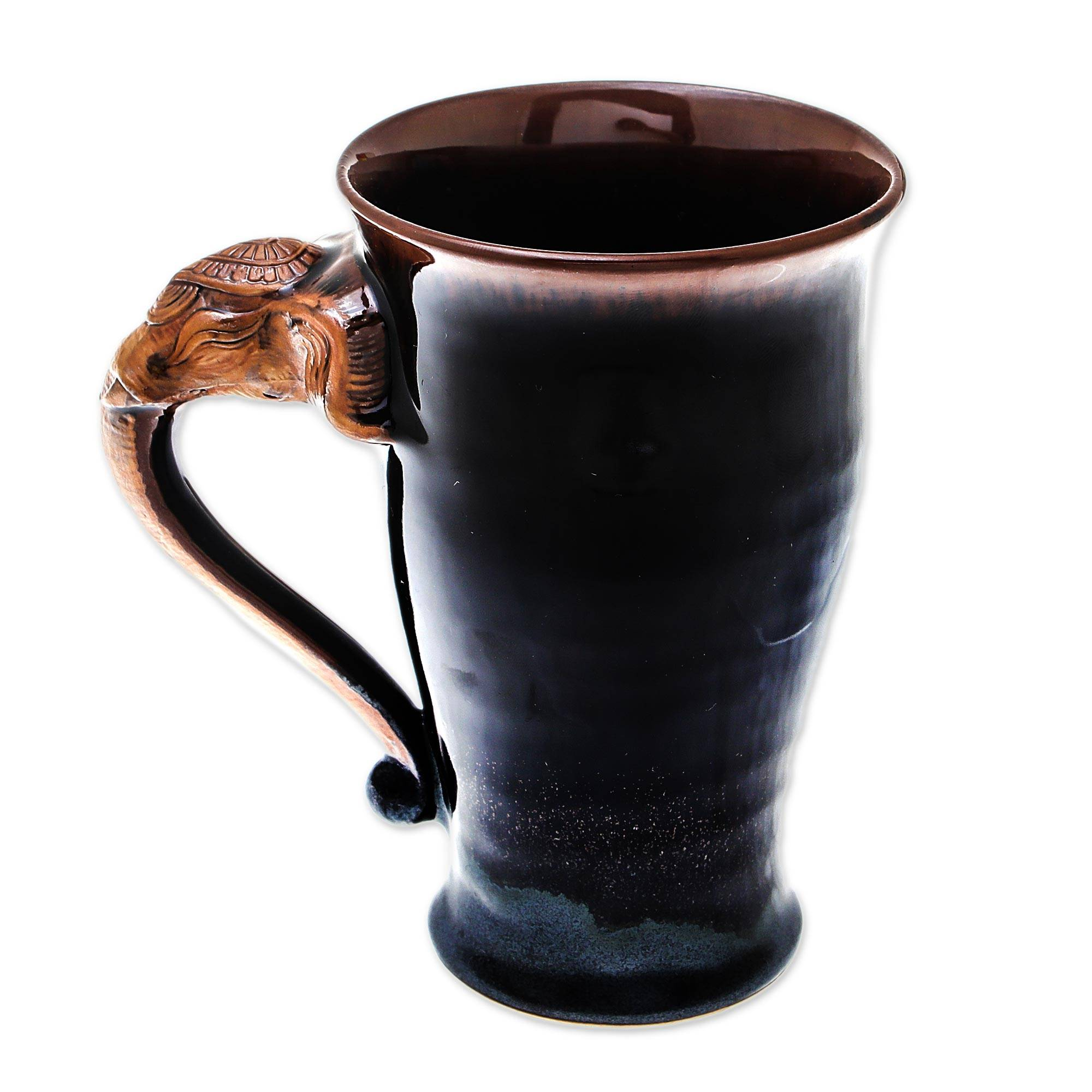 Elephant-Themed Ceramic Mug in Brown from Thailand, 'Elephant Handle in  Brown'